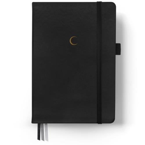 Agenda Bullet en color negro con detalle de luna en la portada